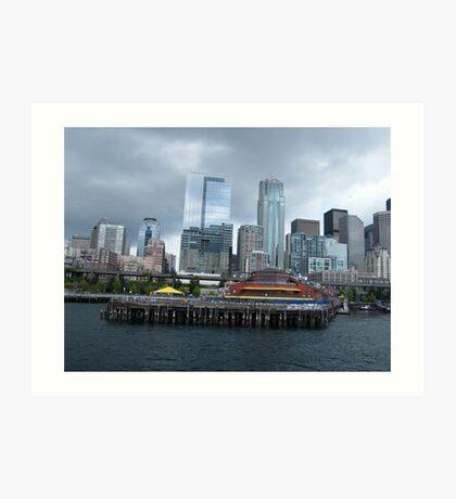 Pier 57 in historic Seattle Waterfront..... Art Print