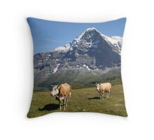 The Eiger and cows!! Throw Pillow