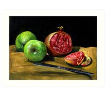 Still Life with Apples and a Pomegranate  Art Print