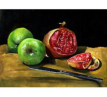 Still Life with Apples and a Pomegranate  Photographic Print