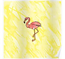 Cute Pink Watercolor Flamingos on Summer Yellow Poster
