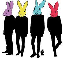 Gangs of neon bunnies in suits by eeloneor
