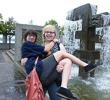 Crazy teenage girls having fun in Seattle, Washington by DonnaMoore