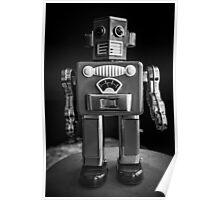 Vintage Tin Toy Robot Black and white Poster