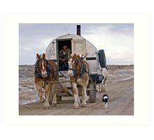 Sheep Wagon, Red Desert, Wy Art Print
