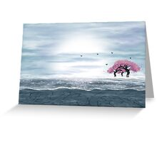 Fantasy landscape in blue and gray colors Greeting Card