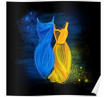 Abstract fashion in blue and orange Poster