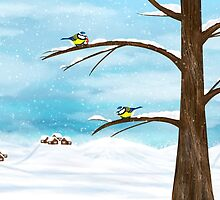 Chickadee birds in winter by lermannika