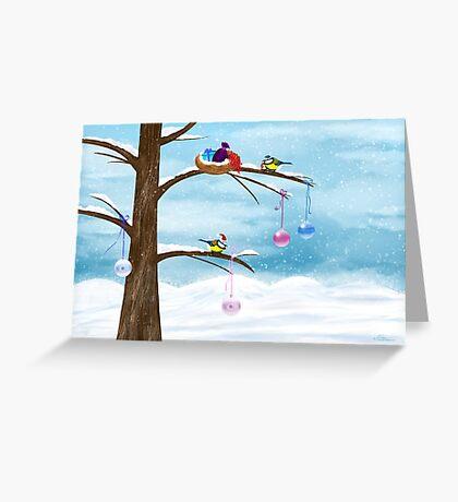 Chickadees celebrate Christmas Greeting Card