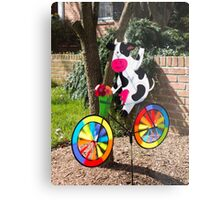 Cycling cow Metal Print