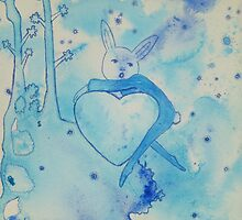 Blue Bunny Valentine by cathiejoyyoung