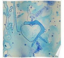 Blue Bunny Valentine Poster