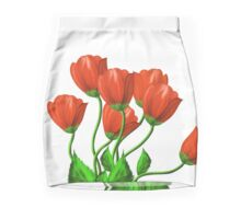 Red flowers on a white background Mini Skirt