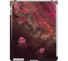 Jellyfish and abstract in fuchsia iPad Case/Skin