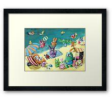 Monster Summer Time on the Beach Framed Print
