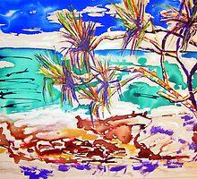 Stradbroke Island  Pandanas in Ink/acrylic by gillsart