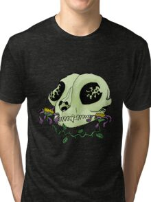Cat Skull with Dead Flowers Tri-blend T-Shirt