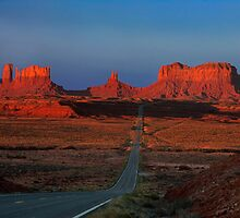 Monument Valley. Road Shot at Sunrise. Arizona. USA by PhotosEcosse
