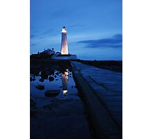 Lighthouse at night. Photographic Print