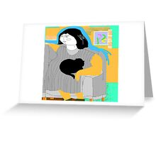 Lady and her cat Greeting Card