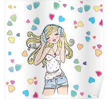 REDBUBBLE music girl fashion illustration Poster