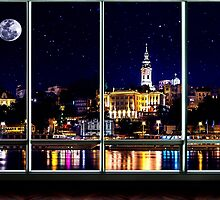 The Old Port Of Belgrade At Night by stockfineart