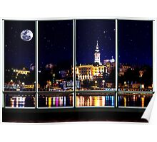 The Old Port Of Belgrade At Night Poster