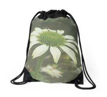 White Flower Drawstring Bag