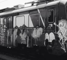 Black and white graffiti train Sticker