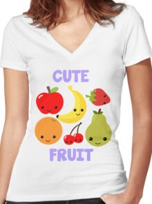 Cute Fruit Women's Fitted V-Neck T-Shirt