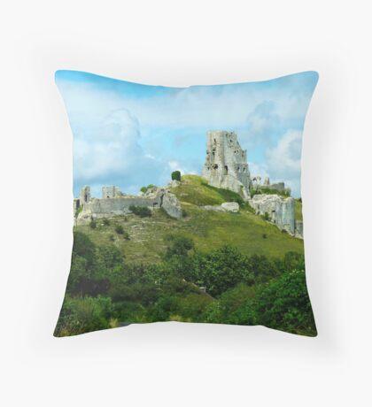Corfe Castle, Dorset, England Throw Pillow