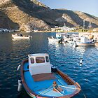 Greek fishing boat in Vathi habor, Sifnos island, Greece by InterfaceImages