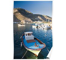 Greek fishing boat in Vathi habor, Sifnos island, Greece Poster