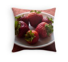 Six Strawberries Throw Pillow