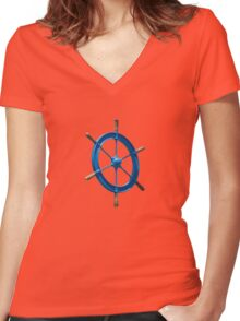 blue sailor wheel Women's Fitted V-Neck T-Shirt