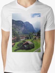 Quaint Swiss Alps town Mens V-Neck T-Shirt