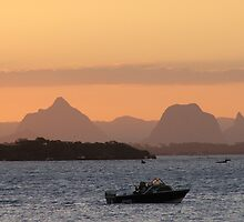 Fishing at sunset!  Bribie Island, East Coast, Queensland. by Rita Blom