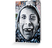 Graffiti Face of teethless boy Greeting Card