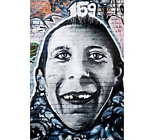 Graffiti Face of teethless boy Photographic Print