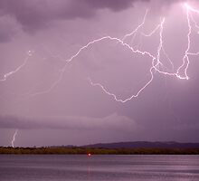 Lightning Crawler over the Richmond River at Ballina by Michael Bath