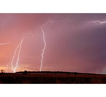 Sunset Lightning near Millmerran Photographic Print
