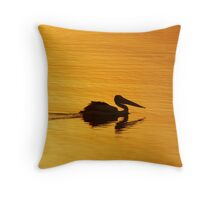 Golden Pelican Sunset Throw Pillow