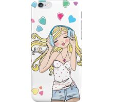REDBUBBLE music girl fashion illustration iPhone Case/Skin