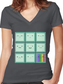 Emoticon Women's Fitted V-Neck T-Shirt