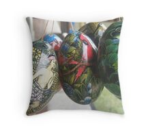 Balinese Painted Wooded Eggs Throw Pillow