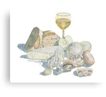Bread Cheese Wine Still Life Canvas Print