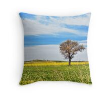 Yellow field with tree Throw Pillow