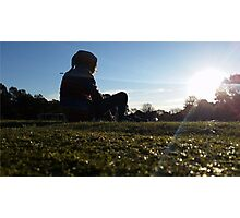 Cute mysterious man at the park Photographic Print