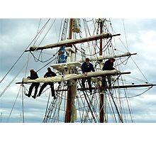 Rigging the mainsail-Hobart Photographic Print