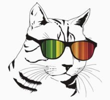 Cool Cat Mirror Rainbow Shades.  One Piece - Long Sleeve